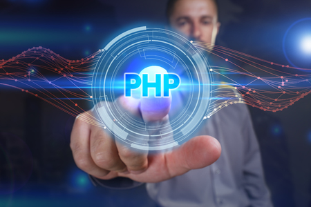 Business, Technology, Internet and network concept. Young business man chooses the virtual screen: PHP Stock Photo