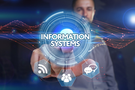 Business, Technology, Internet and network concept. Young business man chooses the virtual screen: information systems