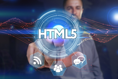 html5: Business, Technology, Internet and network concept. Young business man chooses the virtual screen: HTML5