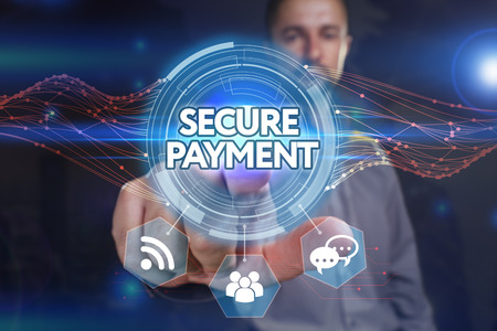 Business, Technology, Internet and network concept. Young business man chooses the virtual screen: secure payment Stock Photo