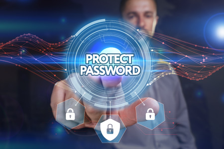 Business, Technology, Internet and network concept. Young businessman, select on the virtual display: Protect password Stock Photo