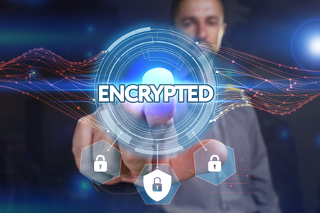 Business, Technology, Internet and network concept. Young businessman, select on the virtual display: Encrypted Stock Photo