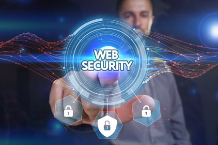 web security: Business, Technology, Internet and network concept. Young businessman, select on the virtual display: Web security