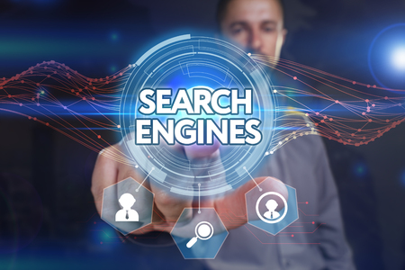 search engines: Business, Technology, Internet and network concept. Young businessman, select on the virtual display: search engines