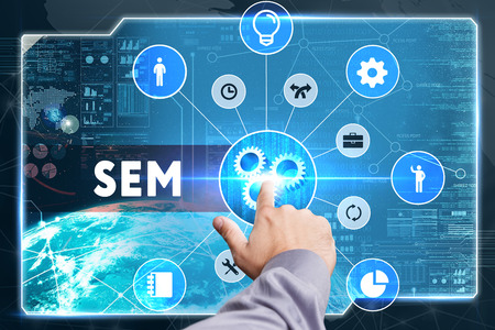 sem: Business, Technology, Internet and network concept. Young businessman working on a virtual screen: SEM Stock Photo