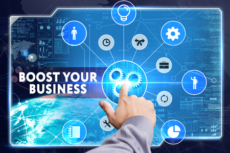 wealthy lifestyle: Business, Technology, Internet and network concept. Young businessman working on a virtual screen: Boost your business