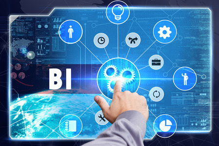 Business, Technology, Internet and network concept. Young businessman working on a virtual screen: BI