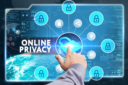 lockout: Business, Technology, Internet and network concept. Young businessman working on a virtual screen of the future and sees the inscription: Online privacy