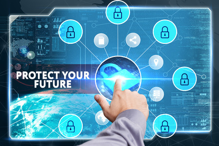 lockout: Business, Technology, Internet and network concept. Young businessman working on a virtual screen of the future and sees the inscription: Protect your future