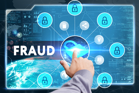 cyber defence: Business, Technology, Internet and network concept. Young businessman working on a virtual screen of the future and sees the inscription: fraud