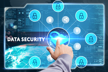 lockout: Business, Technology, Internet and network concept. Young businessman working on a virtual screen of the future and sees the inscription: Data security