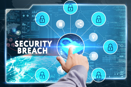 cyber defence: Business, Technology, Internet and network concept. Young businessman working on a virtual screen of the future and sees the inscription: Security breach Stock Photo