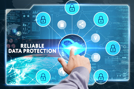 lockout: Business, Technology, Internet and network concept. Young businessman working on a virtual screen of the future and sees the inscription: Reliable data protection