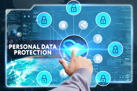 lockout: Business, Technology, Internet and network concept. Young businessman working on a virtual screen of the future and sees the inscription: Personal data protection