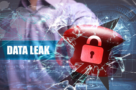Business, Technology, Internet and network security. data leak Stock Photo