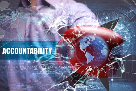 비즈니스, 기술, 인터넷 및 네트워크 보안. 책임 스톡 콘텐츠
