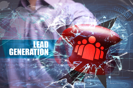 Business, Technology, Internet and network concept. Young businessman breaks the virtual future of the screen on which the inscription: lead generation