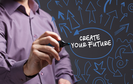 business marketing: Technology, internet, business and marketing. Young business man writing word: create your future Stock Photo