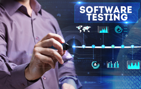 Technology, Internet, business and marketing. Young business person sees the word: software testing 免版税图像