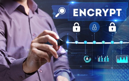 encrypt: Technology, Internet, business and marketing. Young business person sees the word: encrypt