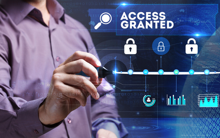 access granted: Technology, Internet, business and marketing. Young business person sees the word: Access granted Stock Photo