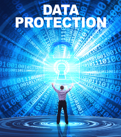 Technology, Internet, business and network concept. Young business man provides cyber security: Data protection