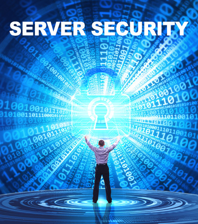 private server: Technology, Internet, business and network concept. Young business man provides cyber security: Server security