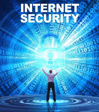 Technology, Internet, business and network concept. Young business man provides cyber security: Internet security Stock Photo