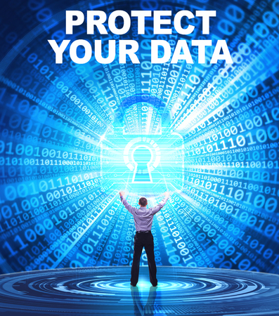 Technology, Internet, business and network concept. Young business man provides cyber security: Protect your data