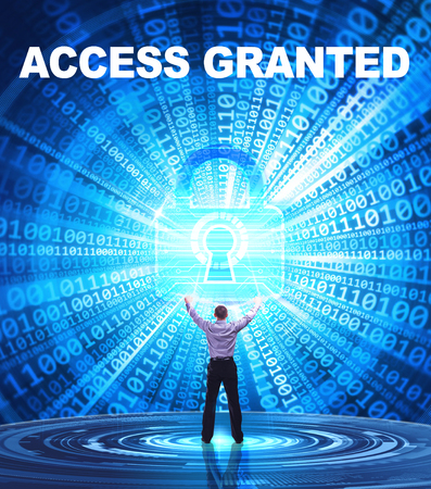 Technology, Internet, business and network concept. Young business man provides cyber security: Access granted