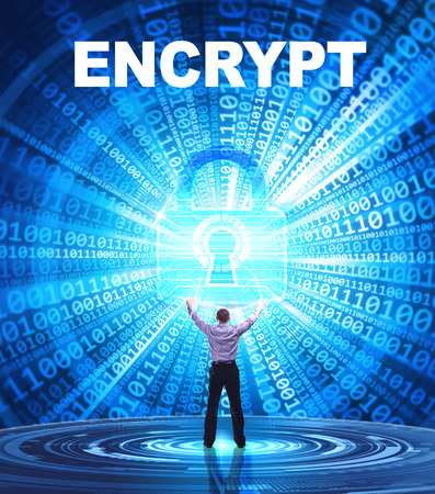 encrypt: Technology, Internet, business and network concept. Young business man provides cyber security: encrypt Stock Photo