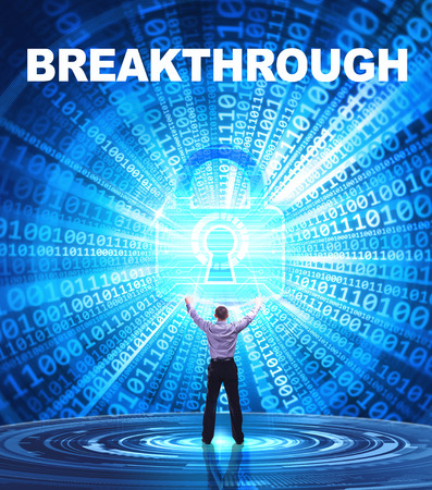 breakthrough: Technology, Internet, business and network concept. Young business man provides cyber security: Breakthrough