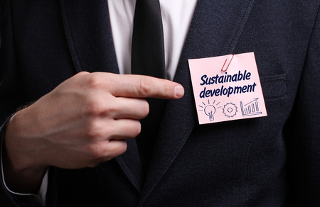desarrollo sostenible: Business, Technology, Internet and network concept. Young businessman shows the word: Sustainable development Foto de archivo