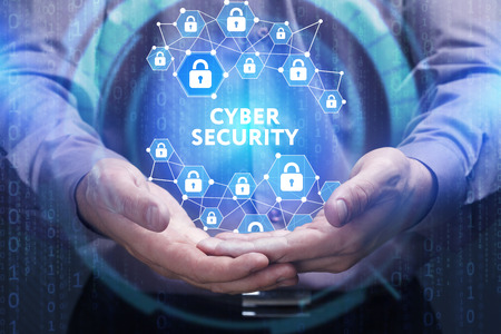 virtual technology: Business, Technology, Internet and network concept. Young businessman shows the word on the virtual display of the future: Cyber security Stock Photo