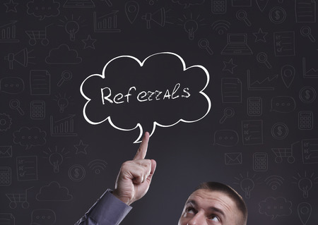 referidos: Business, Technology, Internet and marketing. Young businessman thinking about: Referrals