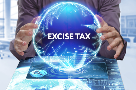 excise: Business, Technology, Internet and network concept. Young businessman shows the word on the virtual display of the future: Excise tax