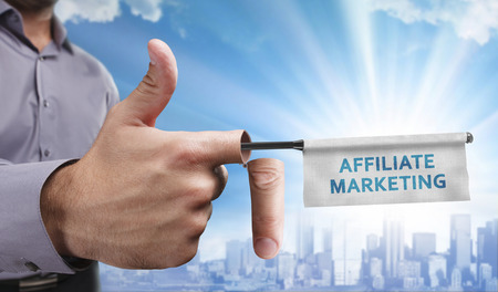 affiliate marketing: Business, Technology, Internet and network concept. Young entrepreneurs have a creative approach to the presentation: Affiliate marketing Stock Photo