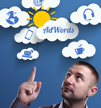 adwords: Business, Technology, Internet and marketing. Young businessman thinking about: AdWords
