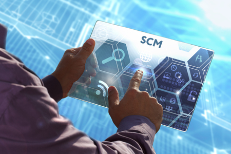 scm: Business, Technology, Internet and network concept . Young business man working on the tablet of the future , select the virtual screen: SCM Stock Photo