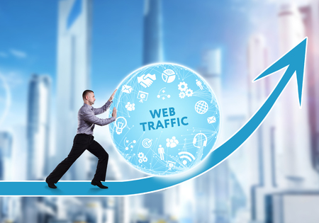 business obstacle: Technology, the Internet, business and network concept. A young businessman overcomes an obstacle to success: Web traffic Stock Photo