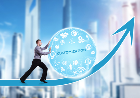 Technology, the Internet, business and network concept. A young businessman overcomes an obstacle to success: Customization Stock Photo