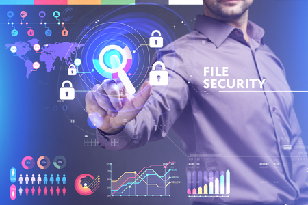 control fraud: Business, Technology, Internet and network concept. Young businessman working on a virtual screen of the future and sees the inscription: File security