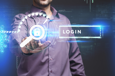 control fraud: Business, Technology, Internet and network concept. Young businessman working on a virtual screen of the future and sees the inscription: Login