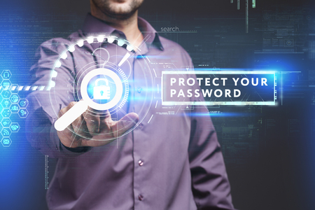control fraud: Business, Technology, Internet and network concept. Young businessman working on a virtual screen of the future and sees the inscription: Protect your password