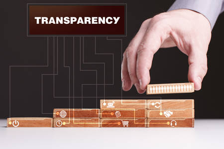 keyword: The concept of technology, the Internet and the network. Businessman shows a working model of business: Transparency Stock Photo