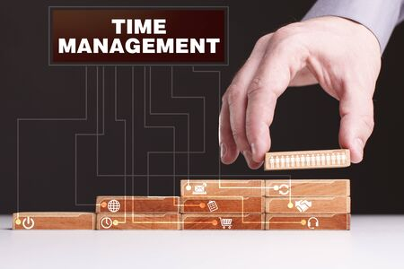 keyword: The concept of technology, the Internet and the network. Businessman shows a working model of business: Time management