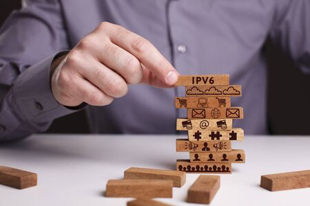 The concept of technology, the Internet and the network. Businessman shows a working model of business: IPv6 Stock Photo