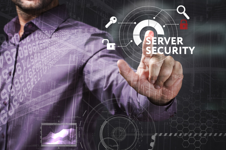 control fraud: Business, Technology, Internet and network concept. Young businessman working on a virtual screen of the future and sees the inscription: Server security Stock Photo