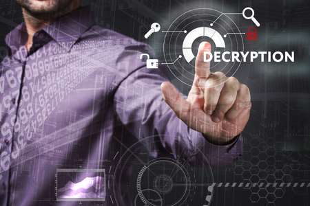 control fraud: Business, Technology, Internet and network concept. Young businessman working on a virtual screen of the future and sees the inscription: Decryption