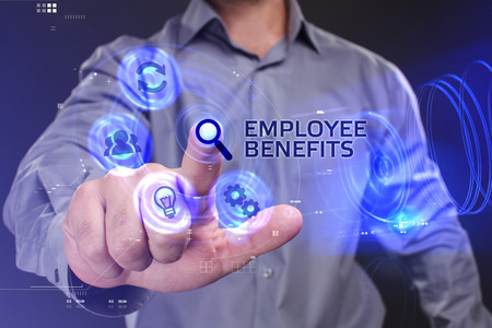 customer support: Business, Technology, Internet and network concept. Young businessman working on a virtual screen of the future and sees the inscription: Employee benefits Stock Photo